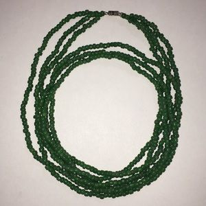 """Green Seed Bead Glass Multi Strands Necklace 28"""""""